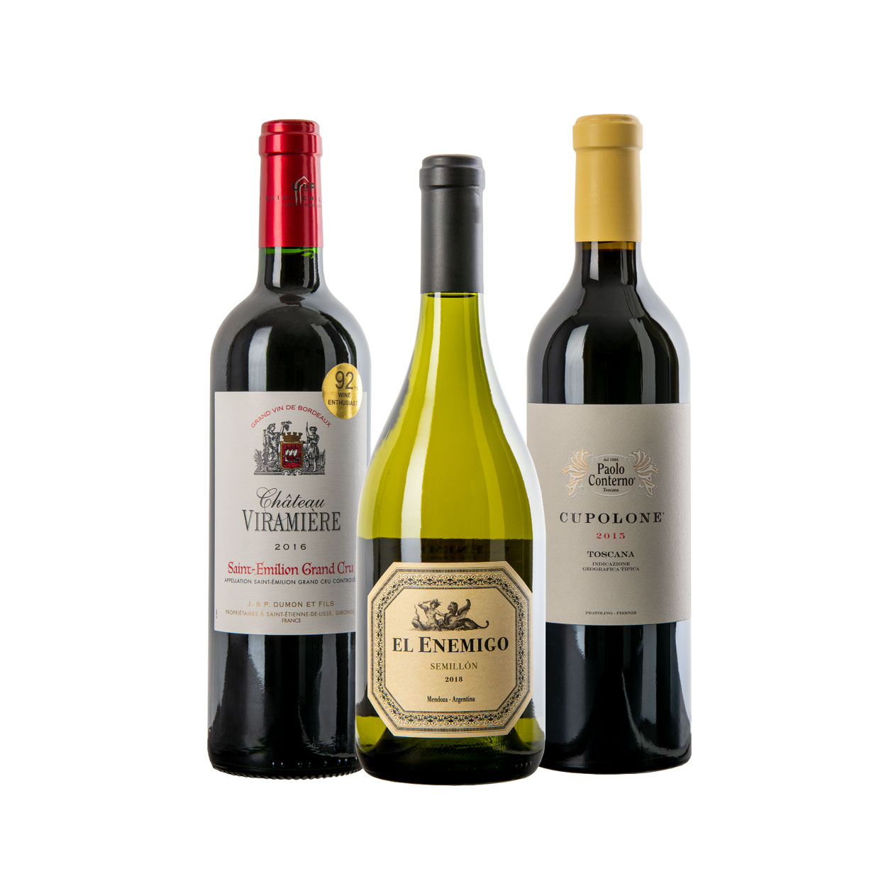 Three premium bottles of wine from past WineCollective subscription packs.