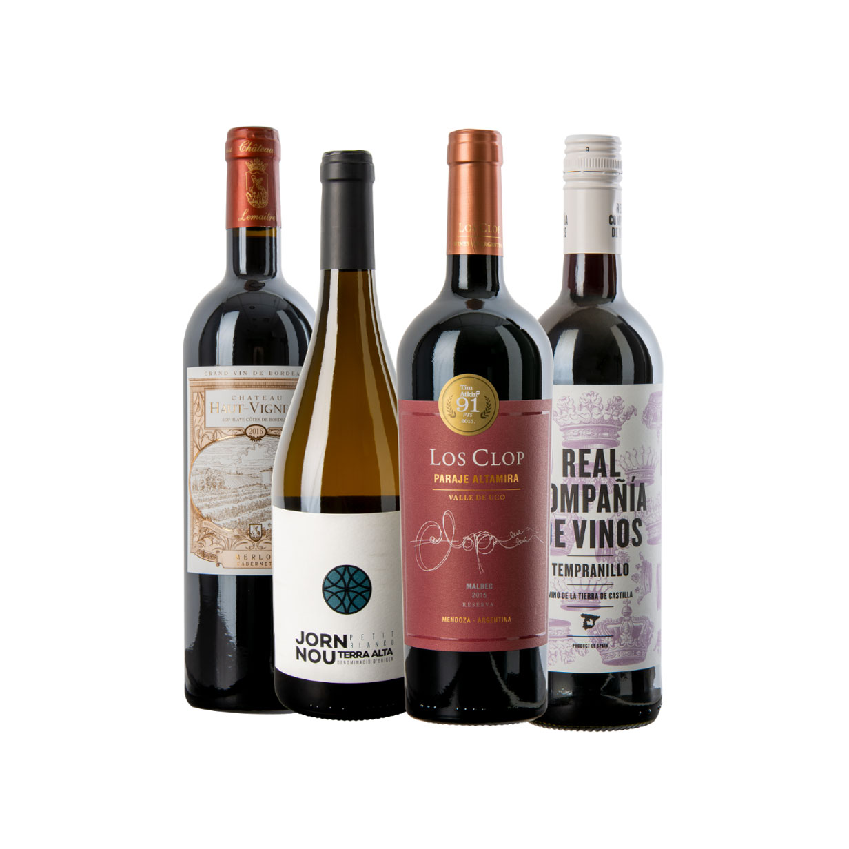 Four bottles of wine, one white and three red, from past WineCollective subscription boxes.