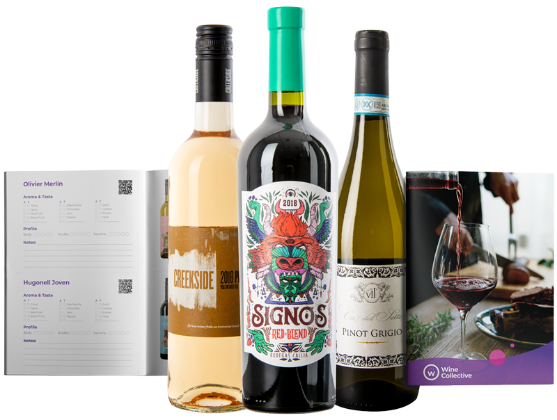 The contents of a WineCollective wine gift subscription - three bottles of wine and the WineCollective tasting guide, depicted both open and closed.